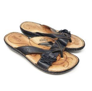 BORN Leather Black Thong Flip Flop Sandals Slip On